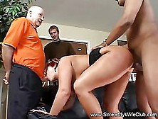 Big Titted,  Red Haired Woman Is Getting Fucked While Her Husband
