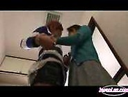 Asian Girl Getting Chained To The Bathroom Licking Tanned Gi...