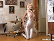 Teen In White Catsuit