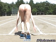 Asian Girls Run A Naked Track And Field Outdoor