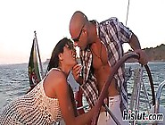 Powerful Brunette Likes To Ride Her Bald Guy'S Big Hard Tool,  Wh