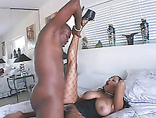 Sexy Ebony In Fishnet Stocking Gets Cum In Her Mouth