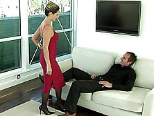 Tall Girlfriend In Red Dress Riding His Dick