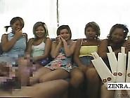 Subtitled Cfnm Japanese Gyaru Group Chopsticks Handjob