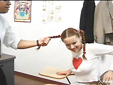 Teacher Fucks And Spanks This Student In Pigtails