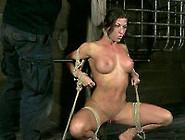 Wet Cunt Of Tied Up Busty Brunette Milf Is Teased With Huge Vibr