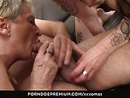 Horny Mature Cougars Ride German Cock In Threeway