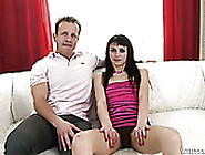 Trashy Brunette Chick Gets Her Hairy Pussy Spooned From Behind