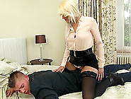 Alluring Clothed Blonde Face Sitting And Riding A Man's Hard Dic