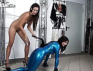 Kinky Slender Hotie Dildos Her Hot Latex Sex Slave