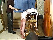 Cute Teen Bent Over And Spanked With A Paddle