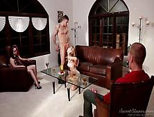 Blonde Hottie Sucks His Rock Hard Cock