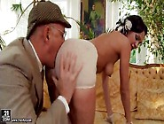 Slut Sucks Old Man Dick And Gets A Rimjob