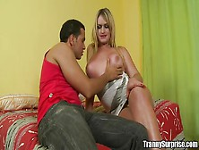 Yago Feels Blonde Transsexual's Tits