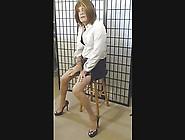Sexy Smoking Crossdresser... Heels And Pantyhose