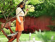 Sexy Secretary In Pantyhose Gets Fucked Outdoors By Fully Clothe
