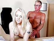 Head Office Old Man Drills In Doggie His Young Hot Secretary