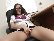 Natural Nerdy Brunette Office Chick Undresses And Masturbates Wi