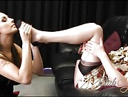 Nylon Lesbian Sucks Feet And Toes As Milf Fingers Pussy