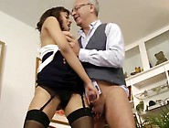 British Brunette Gets Fucked By Grandpa