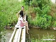Horny Brunette Has Sweet Sex With Her Boy In The Garden