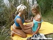 Two Blonde Teen Lesbians Having Sex Outdoor