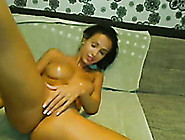 Marvelous Brunette Girl On Webcam With Perfect Oiled Up Booty