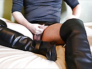 Wank And Cum In And On Knee And Thigh High Boots