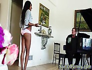 Ebony Stepdaughter Comes Out Only Wearing A T-Shirt And Panties