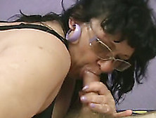 Black Haired Bitch In Glasses Knows How To Give A Good Blowjob