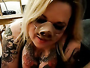 Freaky Blowjob From A Pig Nosed British Blonde Whore