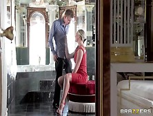 Elegant Blonde Is Playing With Her Man