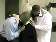 Chubby Blonde Milf Sucks And Fucks With Two Black Guys