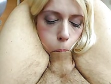 Cock Loving Blonde Is Deepthroating In The Living Room,  While No