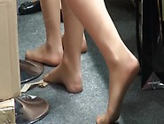 Naughty Hostess's Delicious Candid Feet In Provocative Nylo