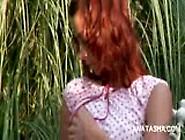 Babe Seductress Natasha Shy Plays With Tiny Boobs Outdoor