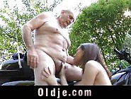 Wild Teen Beauty Fucks Old Dude Outdoors