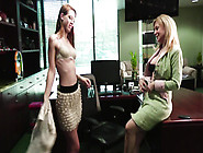 Office Lesbian Sex With Busty Mature & Small Tits Young Slut