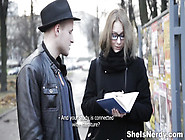 Lucky Dude With Skinny Nerdy Girl Share Love For Books And Sex