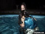 Nighttime Lesbian Dip In The Pool