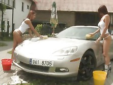 Babe Car Wash With Lesbian Extras