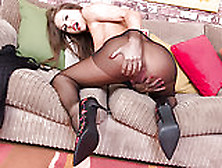 Brunette Milf Plays With Her Shaved Pussy In Nylon Pantyhose