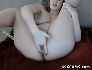 Blonde Teen Plays With Dildo On Cam