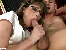 Horny Granny In Glasses Judyt Gives A Stellar Blowjob On Young L