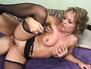 Curvaceous Blonde Mom In Black Stockings Gets Pounded By A Young