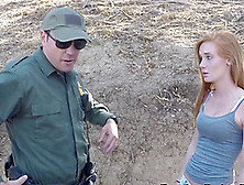 Redhead Can Get To The Usa If She Fucks The Border Patrol Outdoo