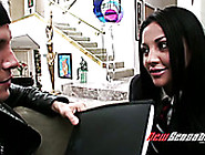 Talkative Brunette Audrey Bitoni Lets Dude Suck Her Titties And