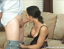 Catalina Cruz Blows This Huge Cock And Tit Wanks It Off
