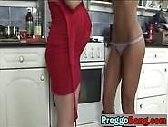 Pregnant White Chick Dildo Ebony Babe Kitchen