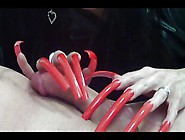 Longnails Red And Sexy Cumshot